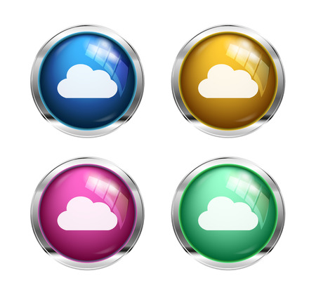 White cloud buttons: blue, yellow, pink and green photo