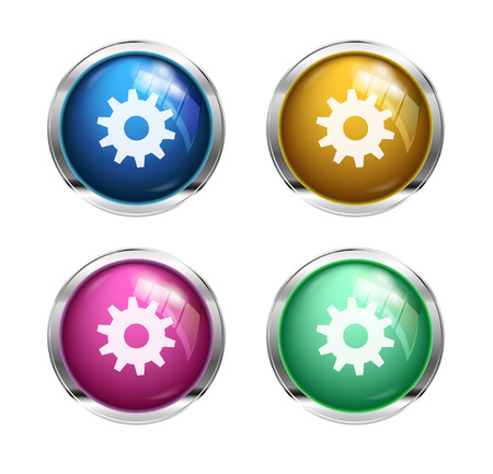 settings cogwheel button: blue, yellow, pink and green photo