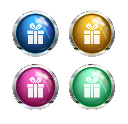 button icons: gift button icons: blue, yellow, pink and green