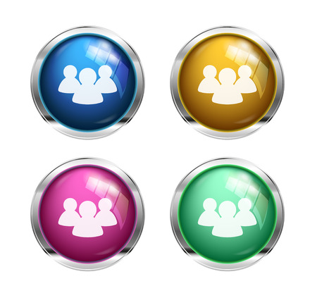 shiny buttons: Shiny forum  chat buttons: blue, yellow, pink and green Stock Photo