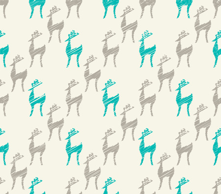 Seamless cartoon deer Christmas celebration background photo