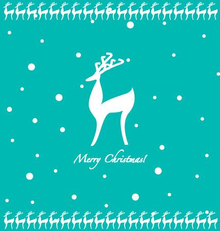 Cartoon deer and snowflakes Christmas celebration background photo