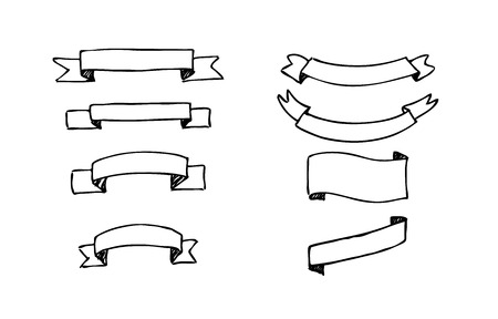 Set of hand-drawn vector banners. Black and white Illustration