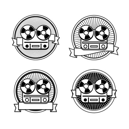 record player: Black and white reel tape recorder stamp