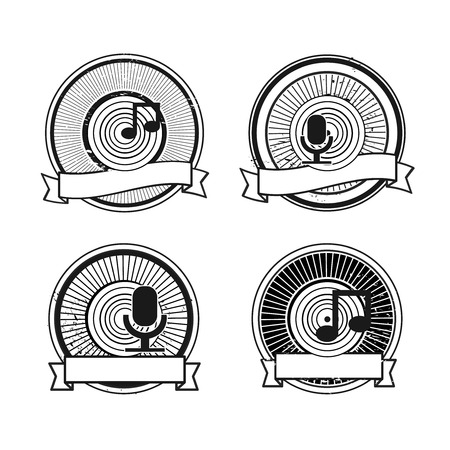 voices: Black and white record microphone stamp Illustration