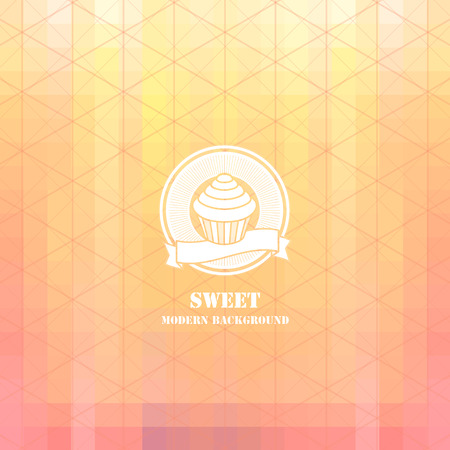 Colorul mosaic sweets background: cupcake icon Illustration