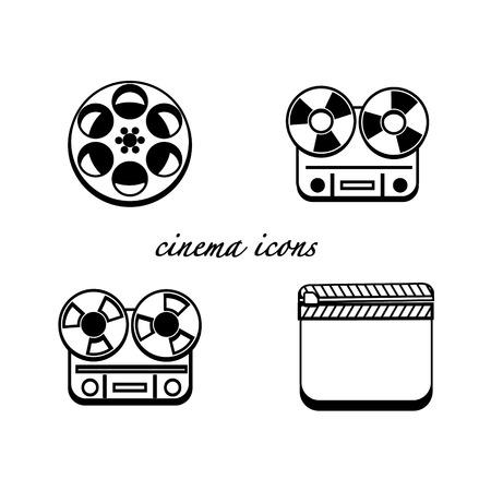 Black and white minimalistic cinema icons set Vector