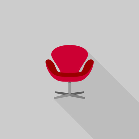 arm chair: Flat long shadow office chair icons. Modern design