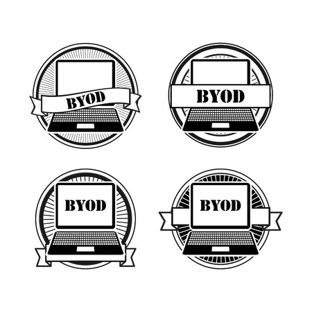 BYOD black and white stamps: laptop retro signs Vector