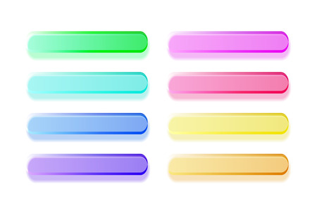 Glossy semi-transparent bars buttons. Set of different colors Vector