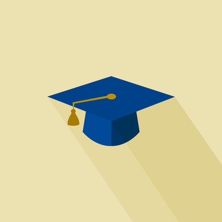 Flat long shadow graduation hat icon: education symbols