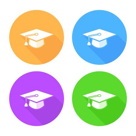mortar board: Flat long shadow graduation hat icon: education symbols