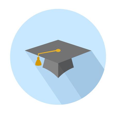 Flat long shadow graduation hat icon: education symbols
