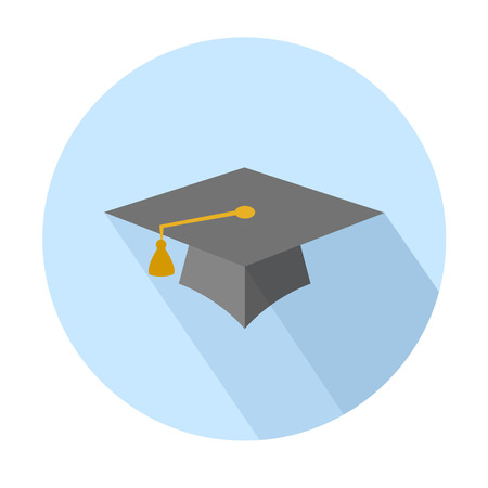 flat cap: Flat long shadow graduation hat icon: education symbols