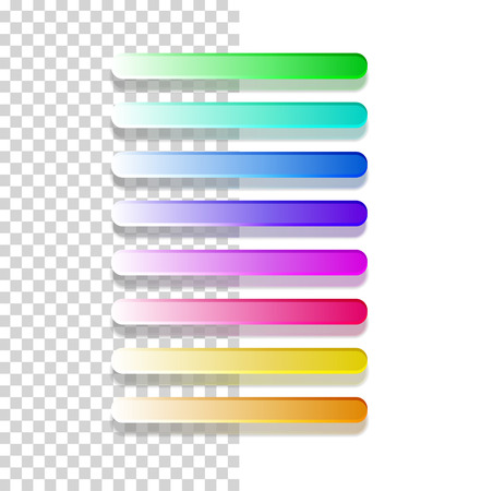 menu buttons: Glossy semi-transparent bars  buttons. Set of different colors Illustration