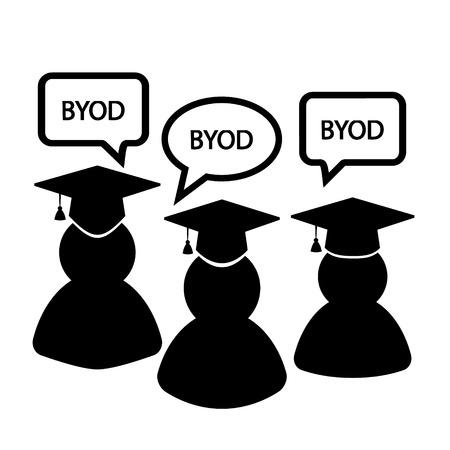 BYOD black and white icons: students university