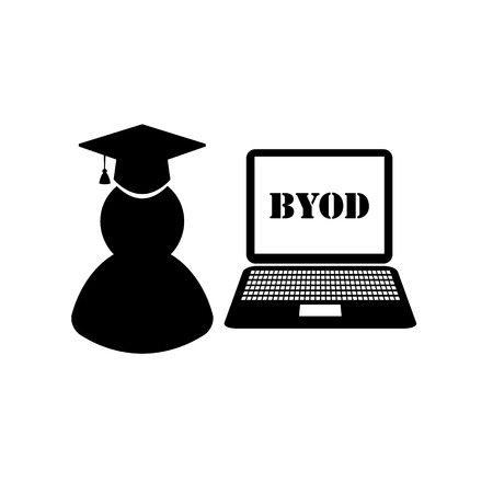 BYOD black and white icons: students university Vector