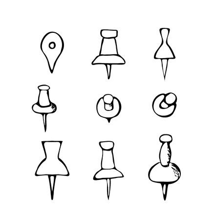 push pins: Black and white hand-drawn push pin icons Illustration