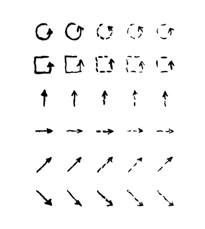 different ways: Set of hand-drawn arrows, black and white illustration Illustration