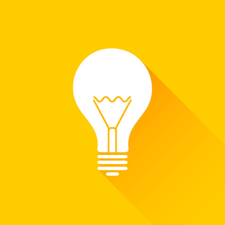 lamp power: Flat long shadow light bulb icons. Yellow and white