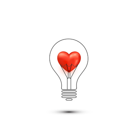 Abstract romantic icons. Heart in a light bulb imagination Vector