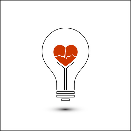 Heart beat in a light bulb Ilustrace