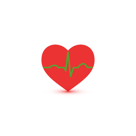 heart ekg trace: Abstract green and red ecg heart icon