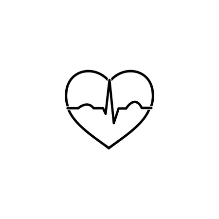 heart ekg trace: Minimal black and white heart ecg icon
