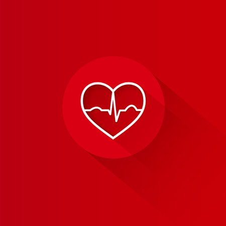Flat long shadow red heart ecg design Vector