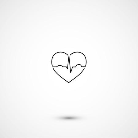 Simple minimalistic heart ecg Vector