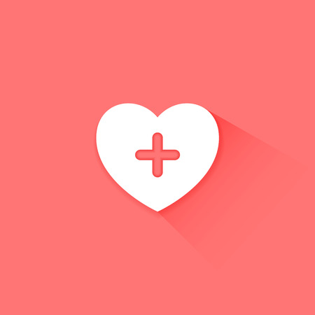 Heart health care red icon flat long shadow Vector