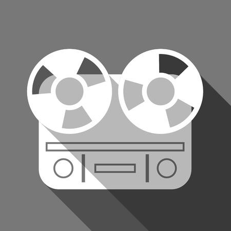 magnetofon: Długi cień płaskim magnetofon kołowrotek Ilustracja
