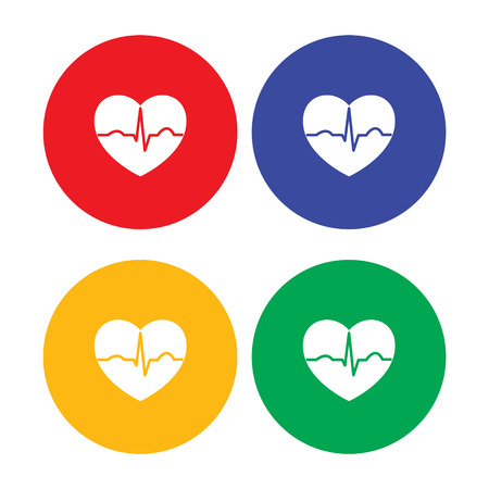 heart rate: Set of flat simple heart icons Illustration