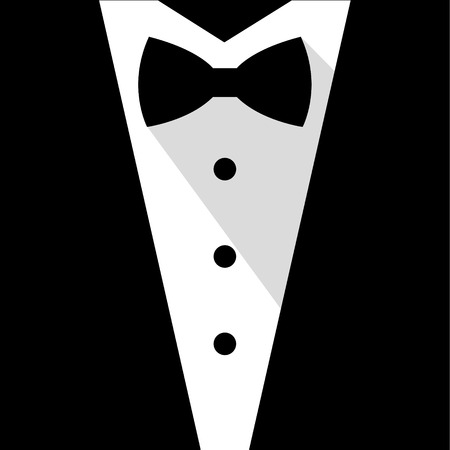 coat and tie: Black and white bow tie tuxedo illustration flat