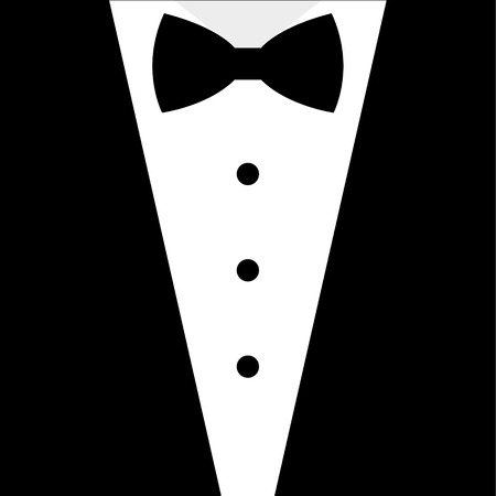 men in suits: Black and white bow tie tuxedo illustration