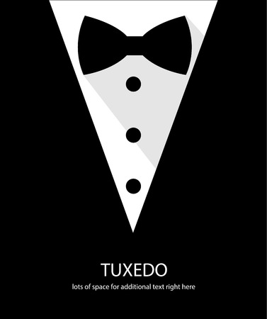 men in suits: Black and white bow tie tuxedo illustration flat long shadow