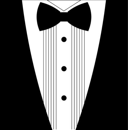 tuxedo: Flat black and white tuxedo bow tie illustration