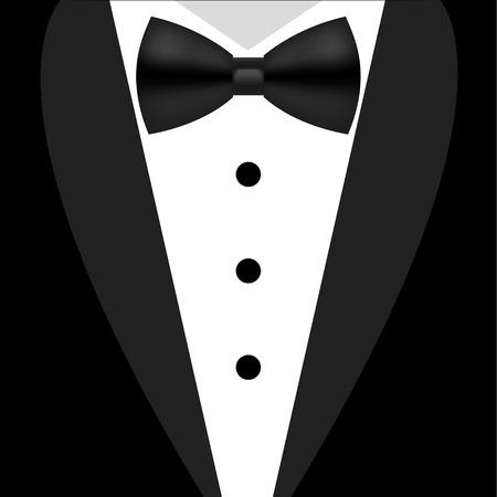 평면 검은 색과 흰색 턱시도 나비 넥타이 그림