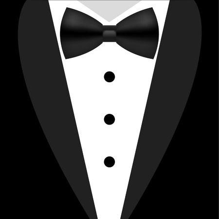men in suits: Flat black and white tuxedo bow tie illustration