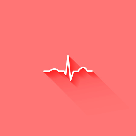 heart rate: Ecg flat long shadow icon red and white medicine symbols Illustration
