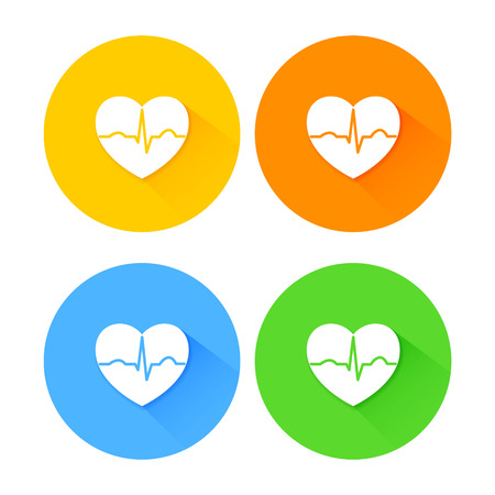 heart rate: Set of flat long shadow heart icons with ecg beat Illustration