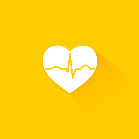 beat: Yellow flat long shadow cardiology icon heart with beat