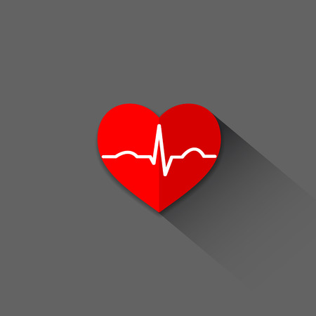 blood pressure monitor: Flat trendy heart beat icon with ecg line