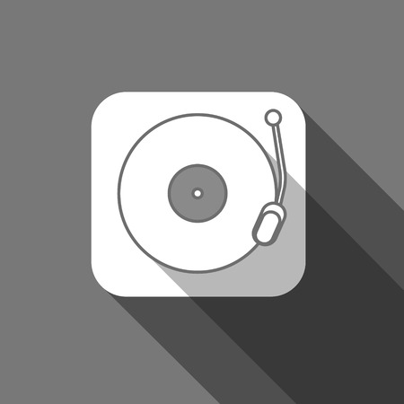 record player: Flat long shadow trendy record player icon design Illustration