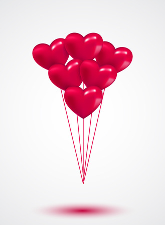 Pink heart Valentine balloons background colorful illustration