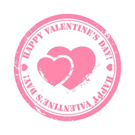 scraped: Grunge Valentine stamp pink scraped hearts