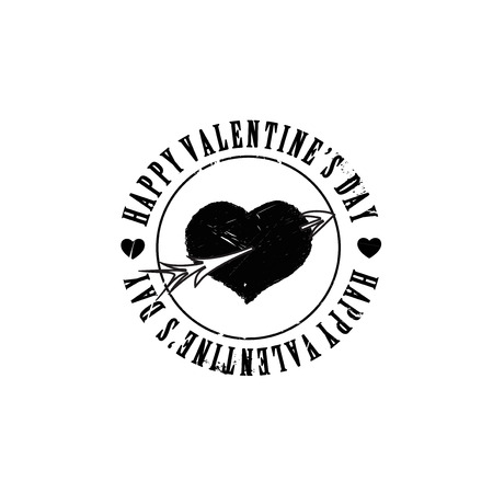 heart arrow: Black grunge heart arrow shape Valentine stamp