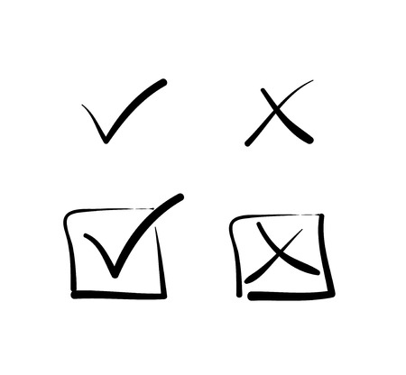 tick icon: Yes no tick cross box signs