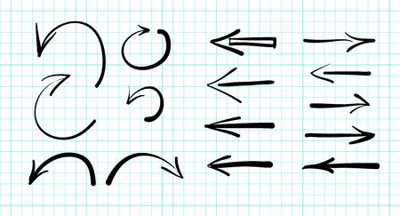 flechas: Conjunto de vectores de flechas garabatos dibujados a mano