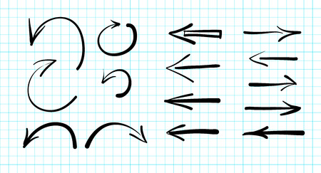left arrow: Set of hand-drawn vector arrow doodles